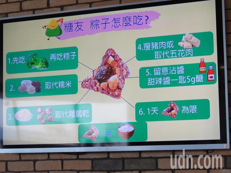 台中市長安醫院營養師劉玲汝提出吃粽子的6大原則。記者黃寅/攝影