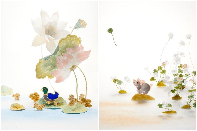 南韓藝術家徐英姬為梵克雅寶Lucky Animals系列創作詩意靈動的自然奇景。