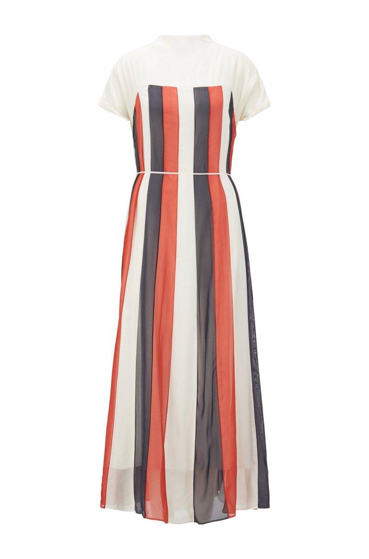 BOSS,彩色直條紋真絲連身洋裝,21,900元。圖 / BOSS提供。