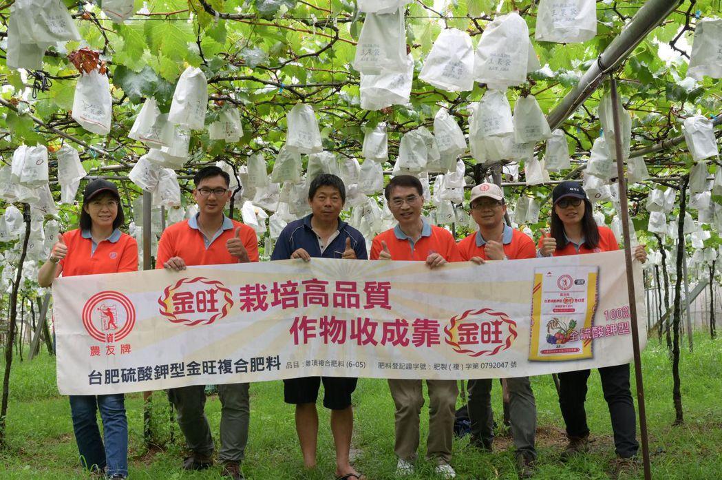 台肥生技金旺溶磷菌肥獲紫豐農場賴順清先生(左三)強力肯定 台肥公司/提供