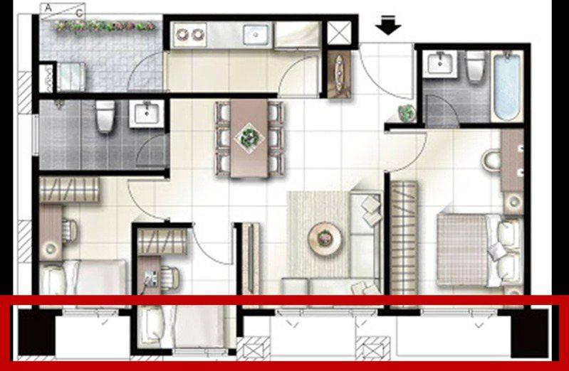 ▲小三房物件格局圖,紅框處為樑柱位置。(圖/屋比房屋提供)