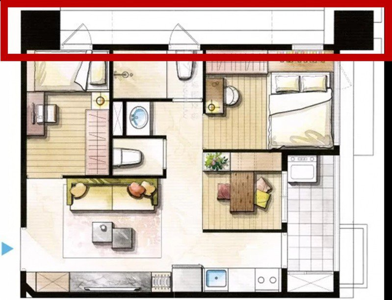 ▲2+1房格局圖,紅框處為樑柱位置。(圖/屋比房屋提供)