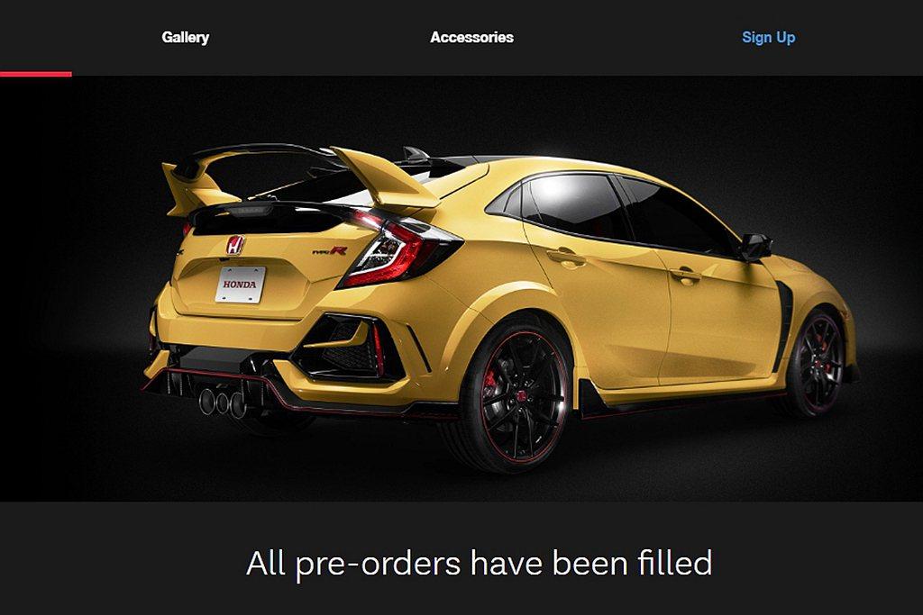 採線上預訂的加拿大市場,Honda Civic Type R Limited E...