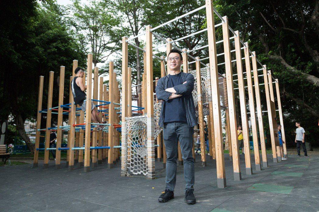游適任以模組化概念規畫遊具,讓樹德公園有了新生命。記者陳立凱/攝影