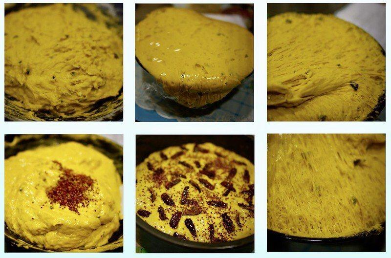 使用筷子將南瓜麵團圈圈方式攪拌回到原來的麵團大小,加入「紅藜茶4包」攪拌,倒入塗好一層食用油的八吋蛋糕模具,抖一抖,抖出麵團氣泡後,放在不插電的電鍋裡,蓋上鍋蓋進行第二次發酵,直到麵團發酵是原來的約1.5倍大。在1.5倍大的麵團表面塗一層食用油,放些切碎的紅棗和撒上1個紅藜茶包來裝飾。