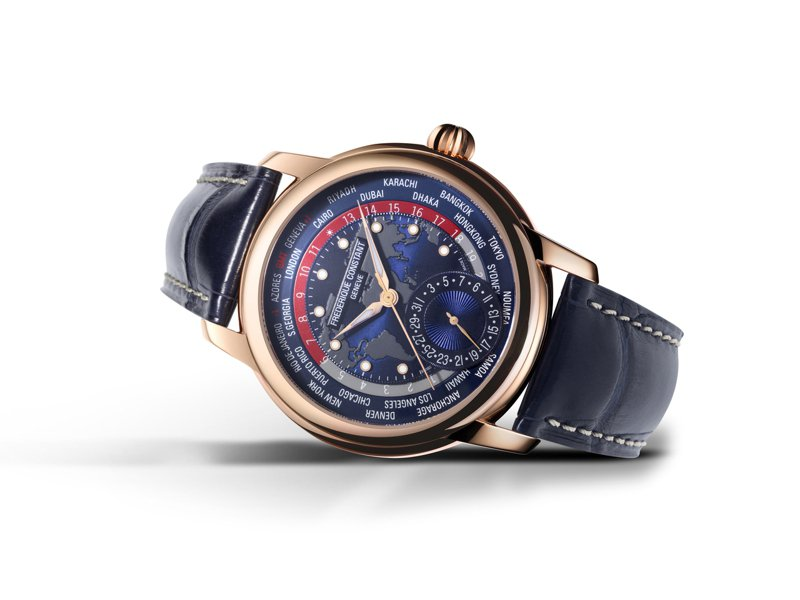 Frederique Constant,Classic系列世界時區腕表,玫瑰金,自製FC-718自動上鍊機芯,42毫米,時間顯示,世界時區功能,限量88只,49萬8,000元。圖 / Frederique Constant提供。