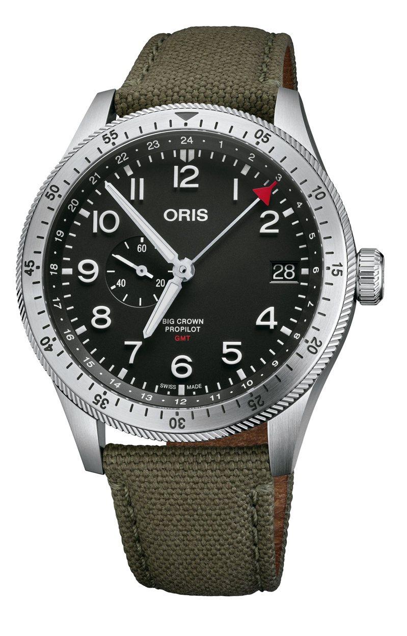 ORIS,Big Crown ProPilot雙時區腕表,精鋼,自動上鍊機芯,時間顯示,GMT,75,000元。圖 / ORIS提供。