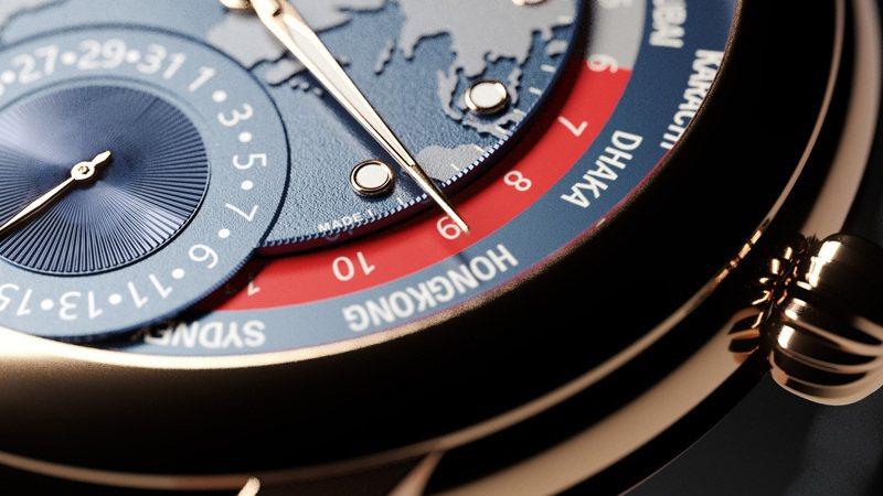近距離欣賞,更能領略康斯登Classic系列世界時區腕表在表面上的種種精細造工。圖 / Frederique Constant提供。