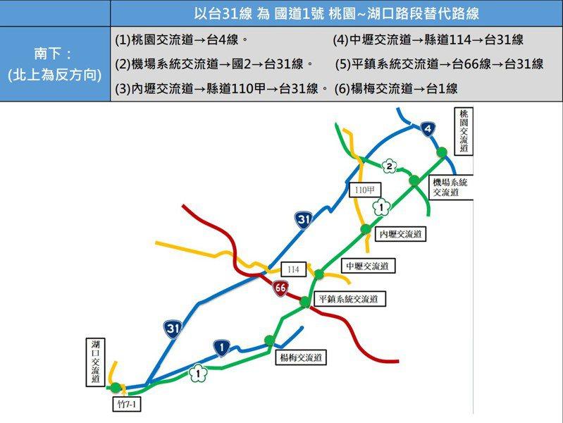 端午節連假來臨,公路總局規畫建議桃園市用路人多多利用台61線(見圖)及高鐵平面台31線,做為桃園與台北、新竹間往返替代道路。記者曾增勳/翻攝