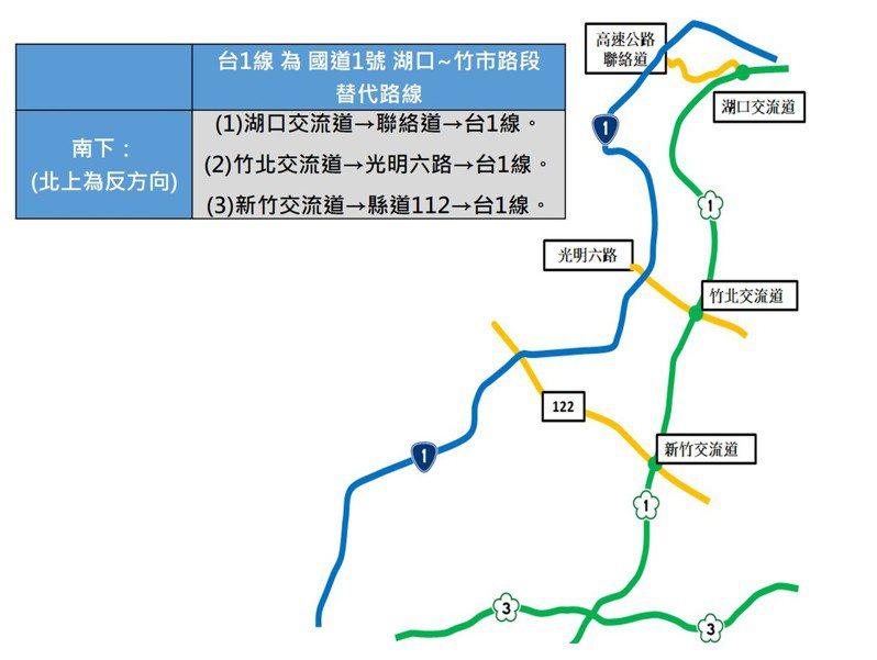 端午節連假來臨,公路總局規畫建議北部用路人以台1線做為國1湖口、新竹易壅塞路段,做為往返桃園、新竹的替代道路。記者曾增勳/翻攝