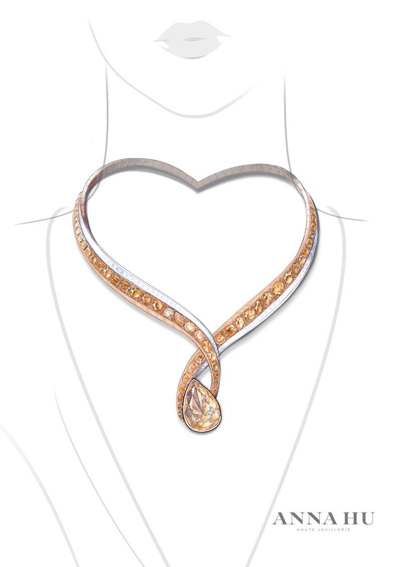 胡茵菲設計的項鍊,18K白金和18K紅金鑲嵌彩鑽和無色鑽石,主石為一顆重達27.02克拉的彩啡黃鑽石。圖/佳士得提供