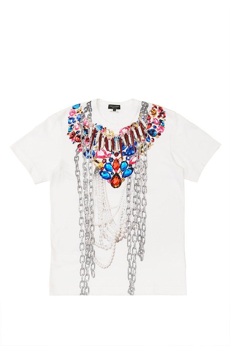 CDG HOMME PLUS拼貼彩色珠寶印刷T恤,17,800元。圖/團團選品提...