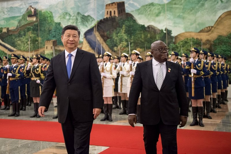 圖為習近平與迦納總統阿庫福-阿多,攝於2018年。 圖/路透社