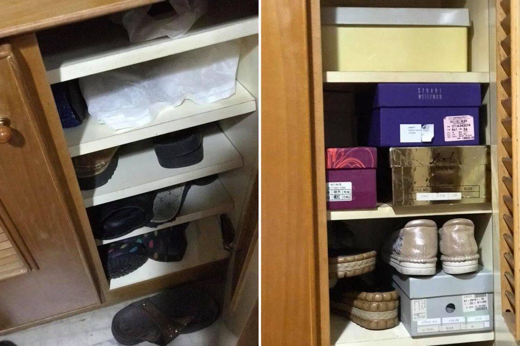 一名網友剛買了一間中古屋,卻發現大門口一個空鞋櫃,隔天卻被鄰居塞滿了鞋子,讓他覺...