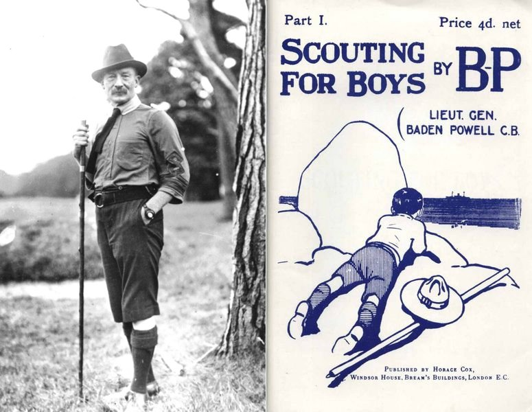 圖左為貝登堡,圖右為《童軍警探》(Scouting for Boys)。 圖/美...