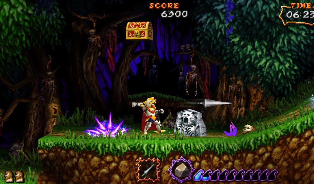 於 PSP 掌上主機登場的《極魔界村》,畫面音樂都大幅增強,遊戲本身的難度也略有...