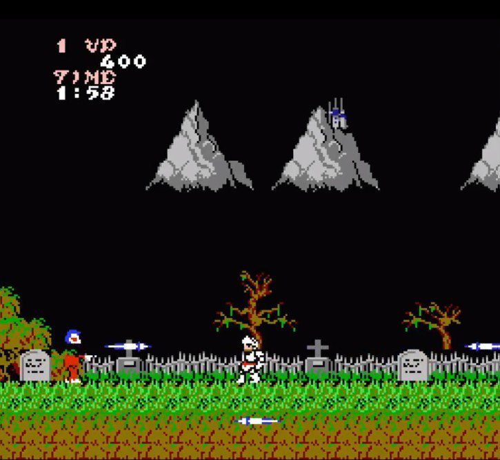 任天堂 FC 紅白機版本的《魔界村》畫面,卡帶容量為1M,在當時算是大的。