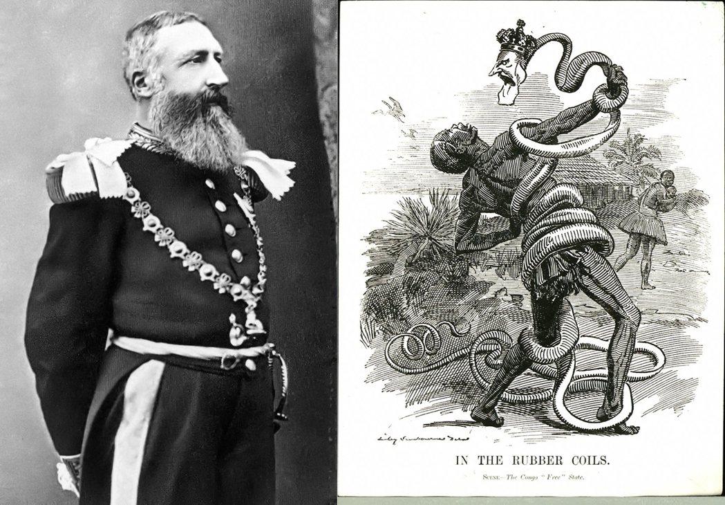 在諷刺圖像中,利奧波德二世被描繪成毒蛇形象,纏繞並且吞食著採集橡膠的剛果奴工。 ...