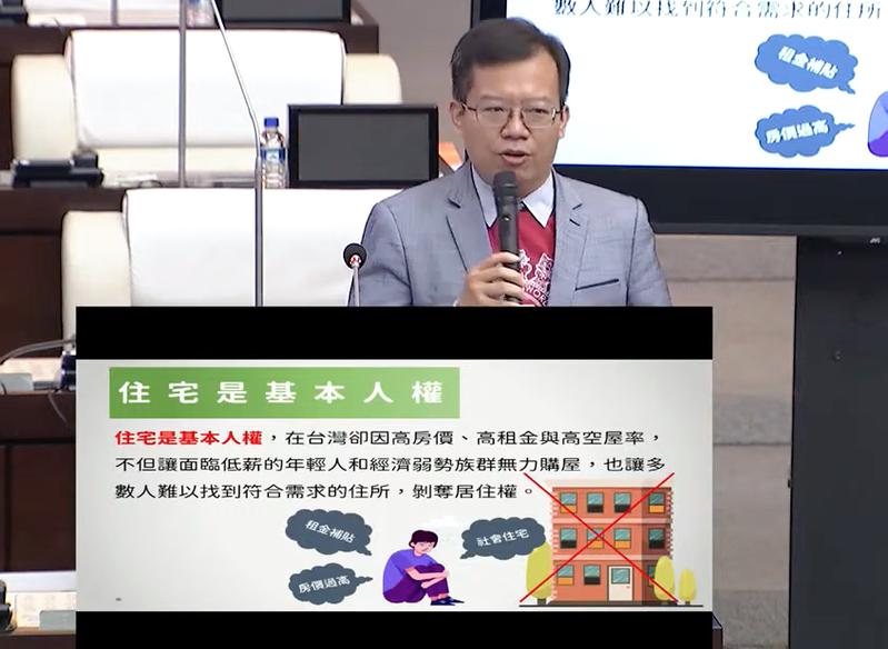台南市議員呂維胤指出,台灣因高房價、高租金,年輕人難以購屋。記者鄭維真/翻攝