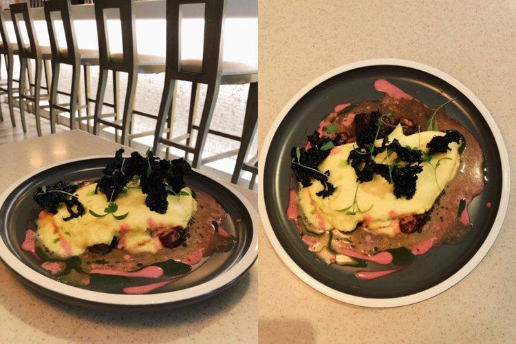 「鮮蚵歐姆蛋佐甜菜破布子醬和風乾海菜」台灣道地料理蚵仔煎搖身一變變成西式料理。(...