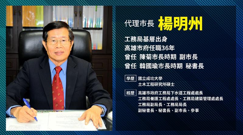 高雄市代理市長確定由參事楊明州接下。圖/行政院提供