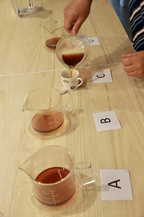 每一位職人沖泡的咖啡以盲測方式,讓評審評分。記者黃義書/攝影