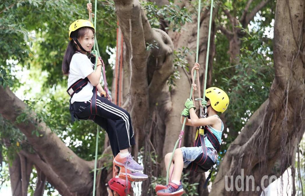 聯合報願景工程舉辦「牽手種樹嘉年華活動」,小朋友透過攀樹師學習技巧,體驗如何用自...