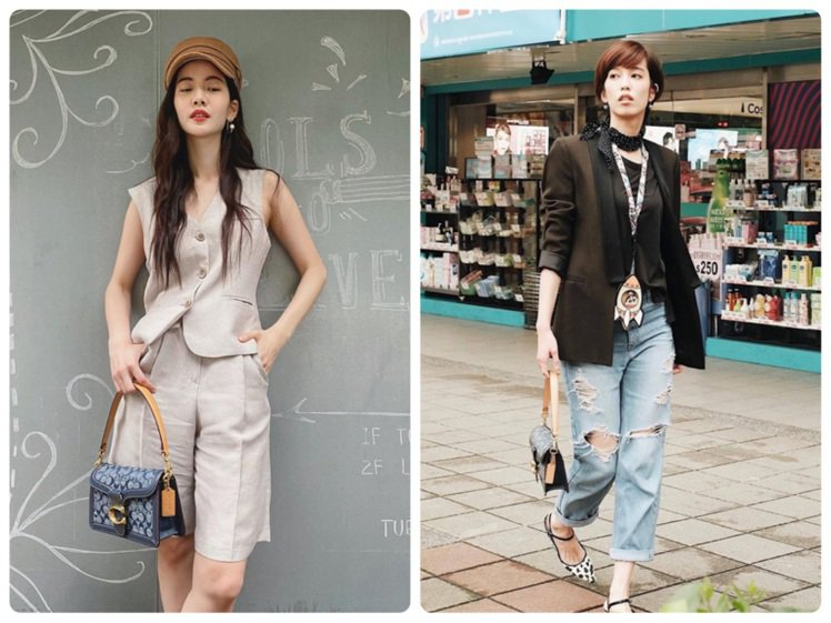 曾之喬和陳庭妮近期分別以COACH的Tabby包款po街拍照。圖/取自IG