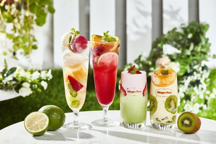 哈根達斯新推出繽紛氣泡飲、藍莓果漾、美莓抹茶、香芒綠洲等多款夏季限定飲品。圖/哈...