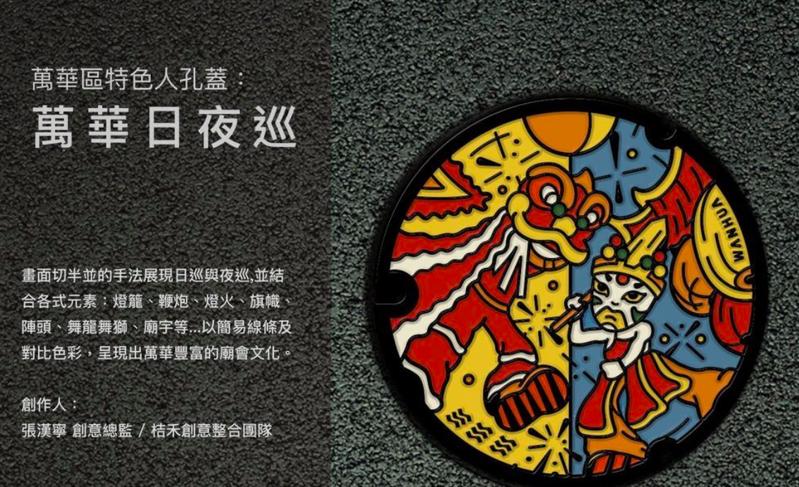 萬華區彩繪特色人孔蓋,呈現萬華豐富廟會文化。圖/北市水利工程處提供