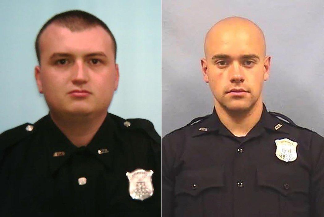 圖左、右分別為涉案的兩名警官——布洛斯南(Devin Brosnan,警界資歷2...
