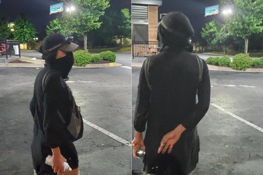 圖為亞特蘭大警局釋出的「蒙面白人女性的縱火嫌犯照片」。 圖/亞特蘭大警方