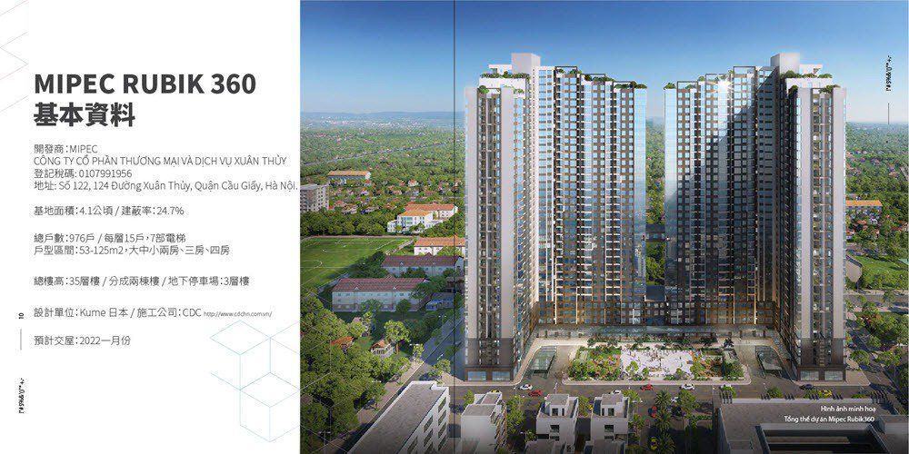 越南首都河內剛性買盤強勁,指標性建案MIPEC RUBIK 360示意圖。 圖/...