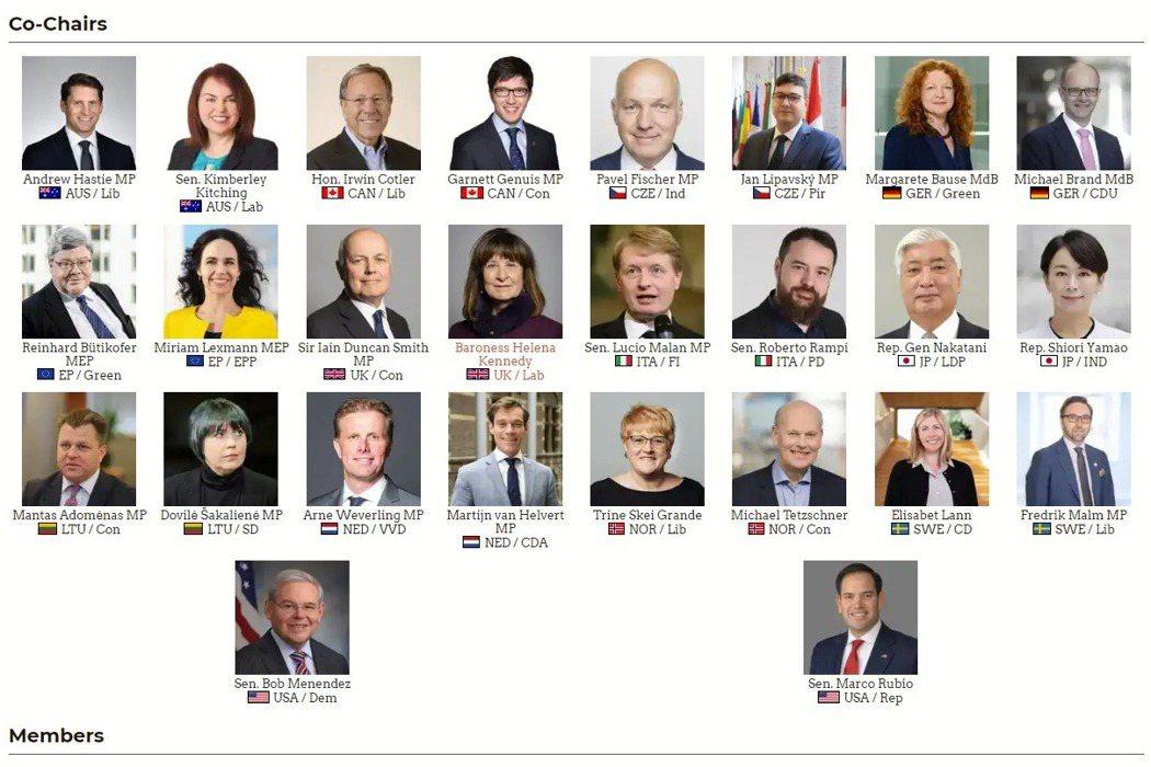 來自8個民主國家以及歐盟的近20位國會議員及政界人士成立「對華政策跨國議會聯盟」。 圖/取自IPAC官網