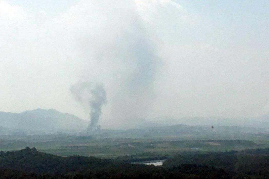 南韓16日下午證實,位於北韓的「南北共同聯絡事務所」遭到北韓「爆破炸毀」。 圖/...