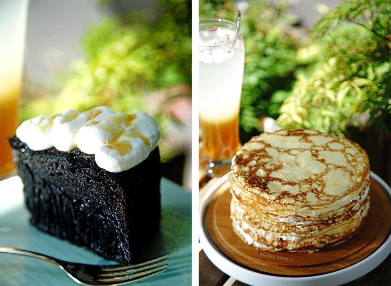 (左)獨家推出的蜂巢蛋糕,加上乳酪奶油與大樹龍眼蜜,層次更豐富。(右)低GI千層蛋糕是巧克挑戰無麩質甜點的得意之作。(攝影/曾信耀)