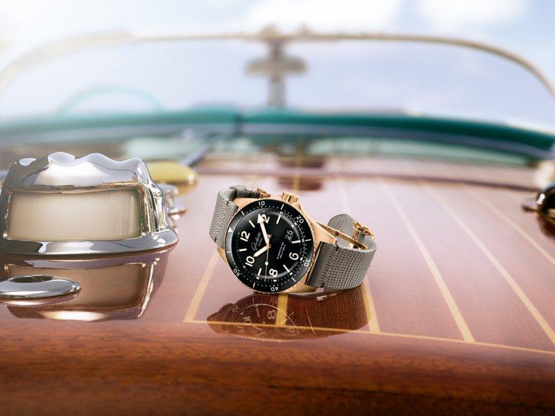 去年初次問世的SeaQ系列,今年帶來半金、玫瑰金的兩只全新款式、奢華且動感。圖 / Glashütte Original提供。