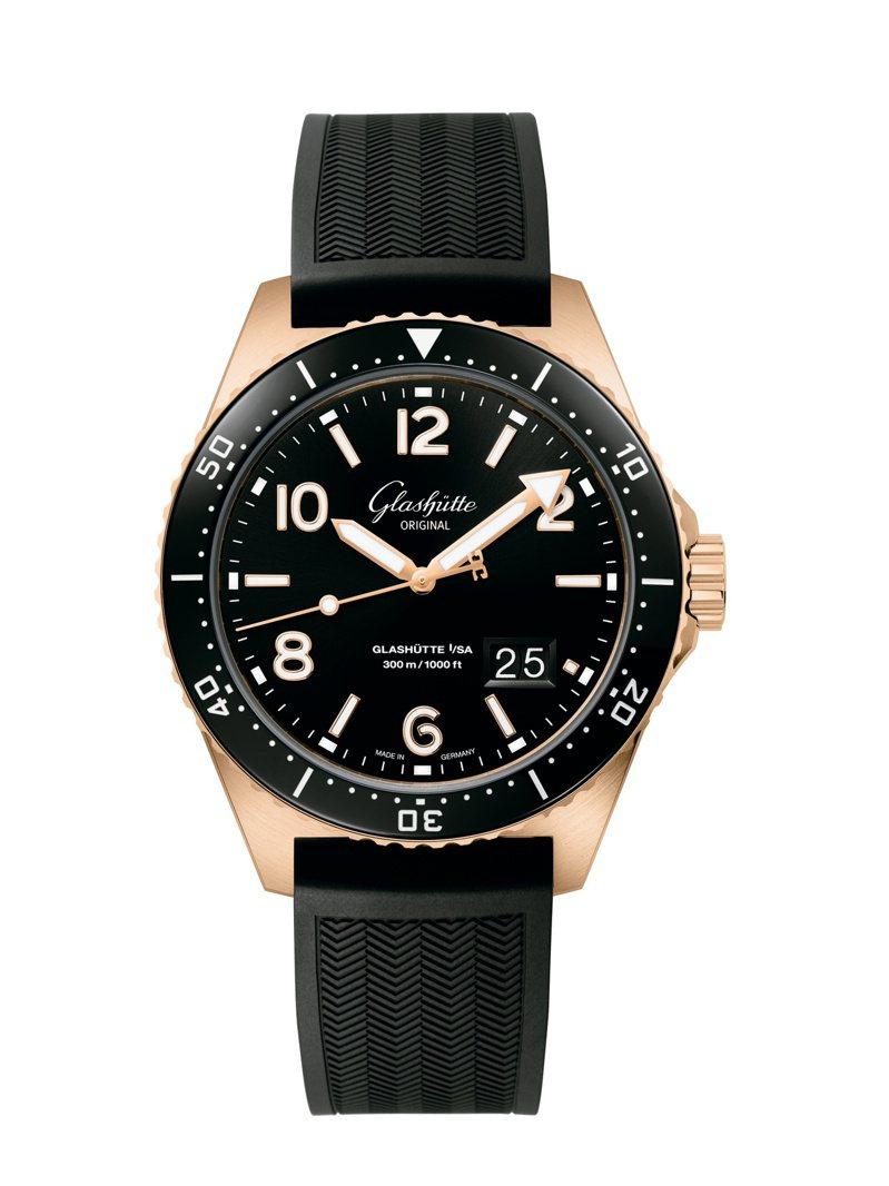 Glashütte Original,SeaQ潛水腕表。玫瑰金,43.2毫米,自動上鍊機芯,時間顯示,大日期窗顯示,83萬9,000元。圖 / Glashütte Original提供。