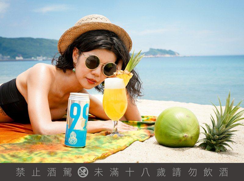 臺虎9.99調啤系中的新品「啤拿可樂達BEERÑA COLADA」,但典熱帶風情,輕爽易飲。圖/臺虎精釀提供