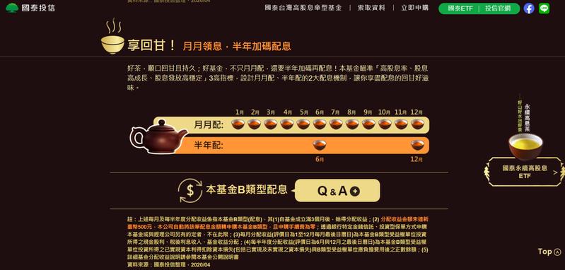 國泰台灣高股息基金將是台股第一檔「月配息+半年配」的基金。國泰投信官網