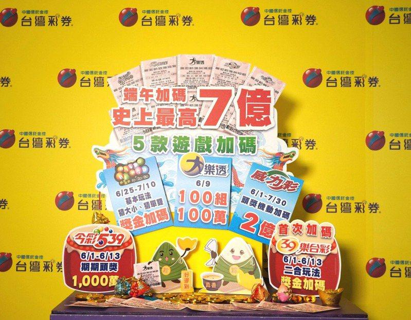台灣彩券公今年推出端午加碼方案,目前還剩72組百萬獎項。圖/台彩公司提供