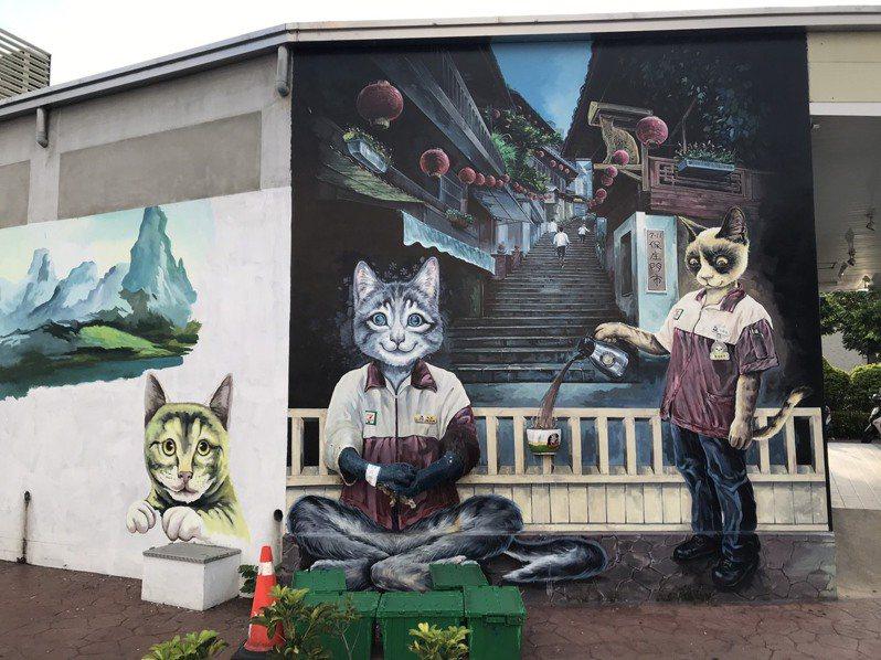 雲林縣斗六市小七保庄門市裡裡外外以貓咪為主題的立體互動彩繪,深獲顧客喜愛,成為雲林打卡熱點。 記者蔡維斌/攝影