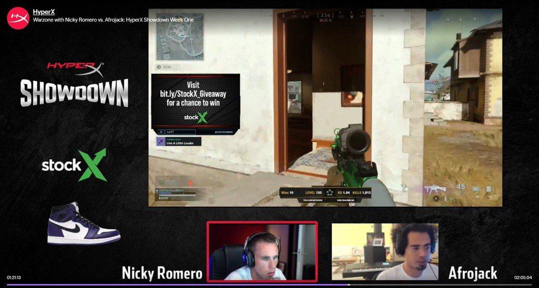 Nicky Romero強壓好友Afrojack。 擷取於TWITCH。