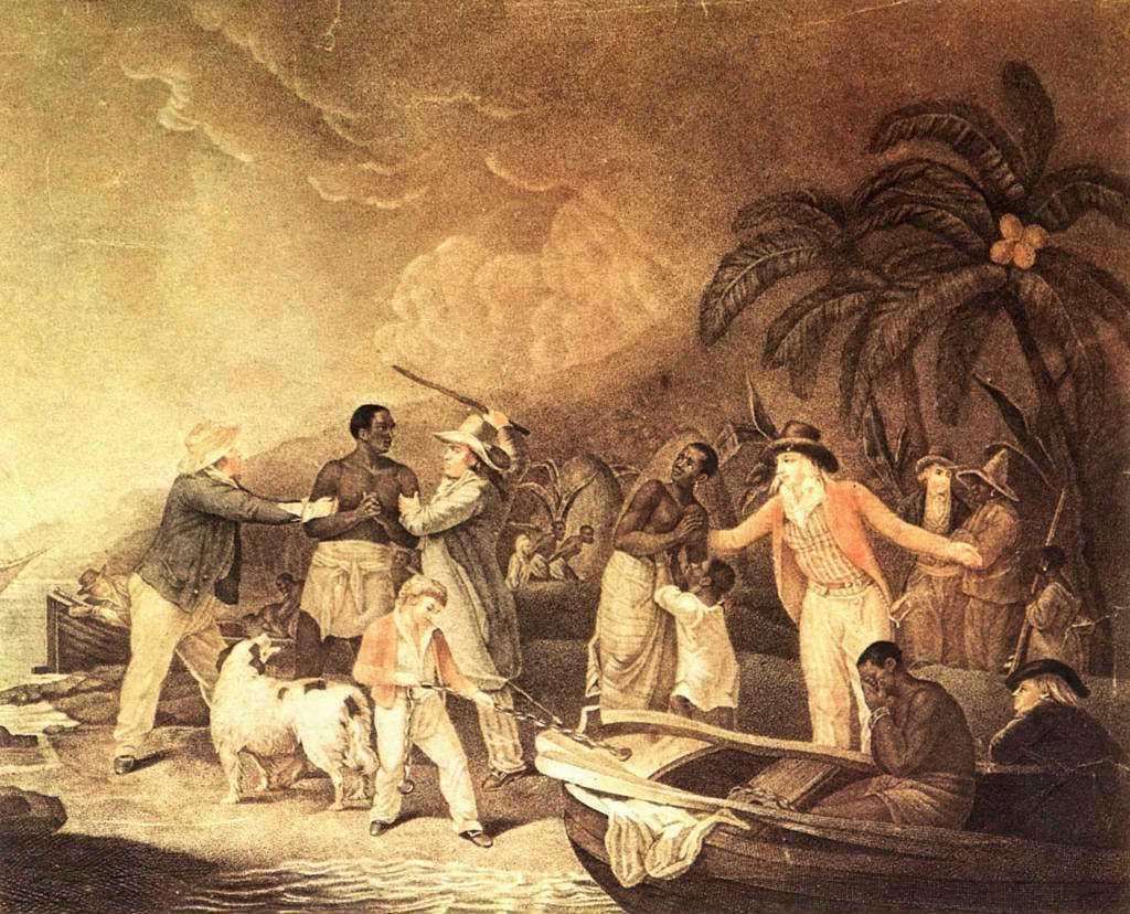 18世紀法國畫家Rollet的畫作《黑奴貿易》。 圖/法新社