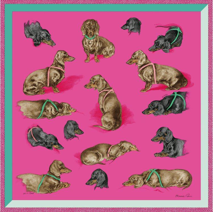 Les Bassets圖紋印花斜紋真絲仿古方巾,11,700元。圖/愛馬仕提供