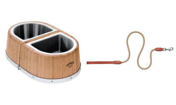 愛馬仕推出寵物飼料碗、Gaucho寵物牽繩。圖/愛馬仕提供
