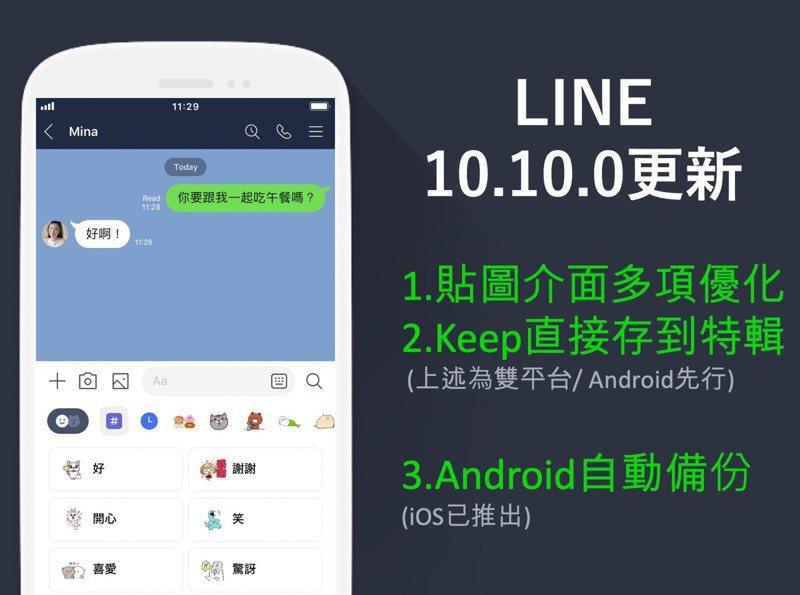 最新的LINE 10.10.0更新針對貼圖功能做出多項優化,Android版率先推送,iOS版將在近期上線。圖/摘自LINE台灣官方部落格