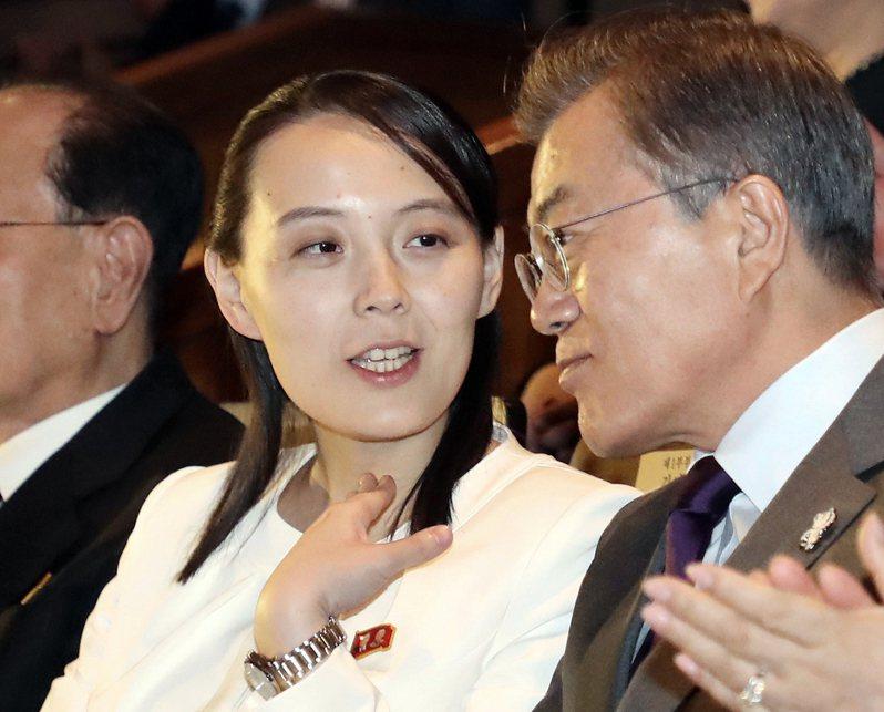 金與正(中)近日對南韓態度趨於強硬,圖為2018年2月在造訪南韓期間,她跟文在寅一同觀賞北韓「三池淵管弦樂團」表演時的互動情形。美聯社