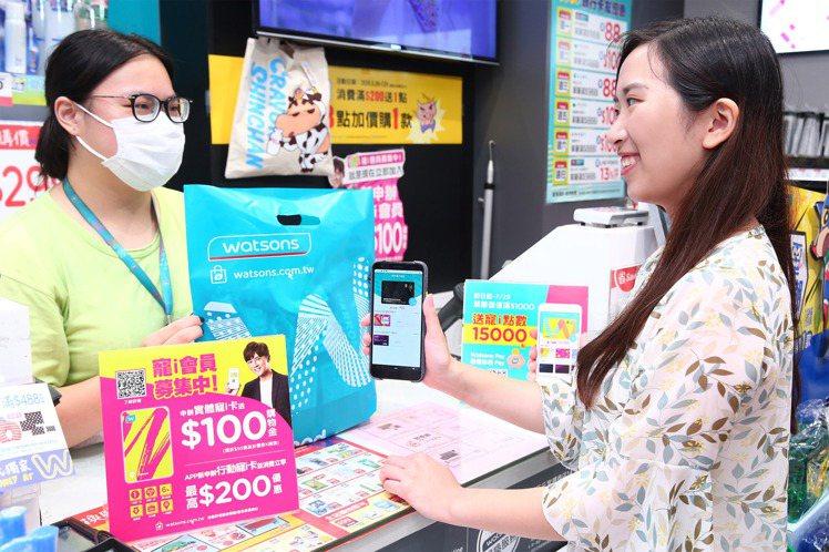 屈臣氏App推出「電子儲值卡」及「電子禮物卡」功能。圖/屈臣氏提供