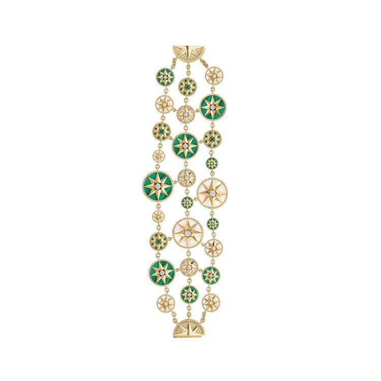 Rose des Vents 羅盤玫瑰祖母綠孔雀石多層次黃K金手鍊,黃K金鑲嵌鑽...